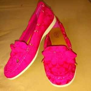 Coach Hot Pink Carisa Loafers